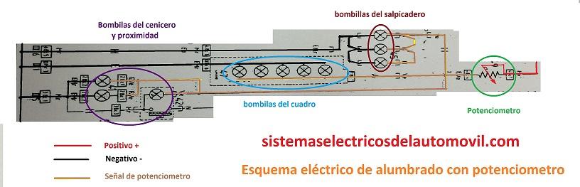 esquema circuito alumbrado interior con potenciometro para slider