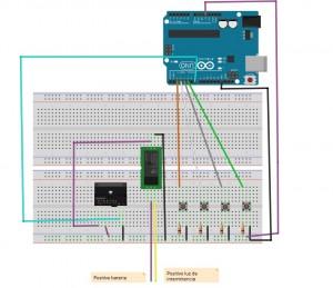 Aspecto del circuito (montado con optoacoplador y relé externo)