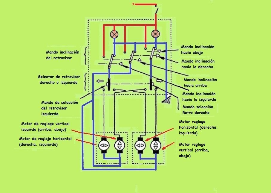 Espejos retrovisores eléctricos. Asientos y espejos esquema eléctrico Reposo