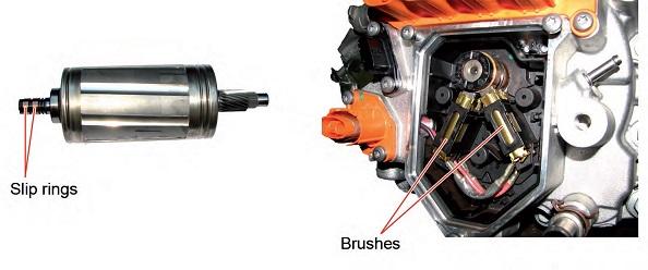 Detalle de anillos rozantes. motor Brishes. Motor eléctrico ZOE. Averías.